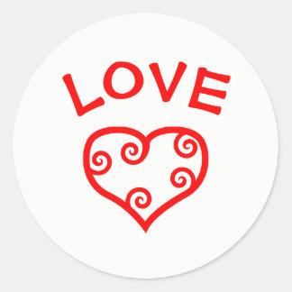 Paz, amor, corazón de la alegría - pegatina del
