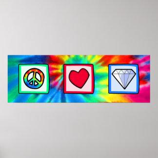 Paz, amor, diamantes impresiones