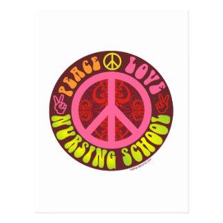 Paz, amor, escuela de enfermería tarjetas postales
