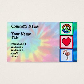 Paz, amor, flamencos rosados tarjeta de negocios