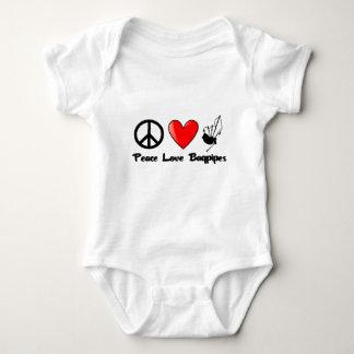 Paz, amor, gaitas body para bebé