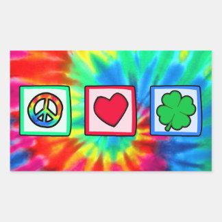 Paz amor irlandés rectangular pegatina