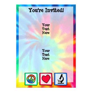 Paz, amor, microscopios invitacion personalizada