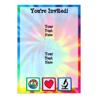 Paz, amor, microscopios invitación 12,7 x 17,8 cm