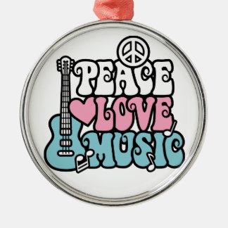 Paz-Amor-Música Adorno Navideño Redondo De Metal
