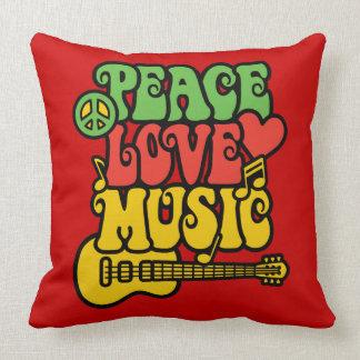 Paz-Amor-Música de Rasta Cojín Decorativo