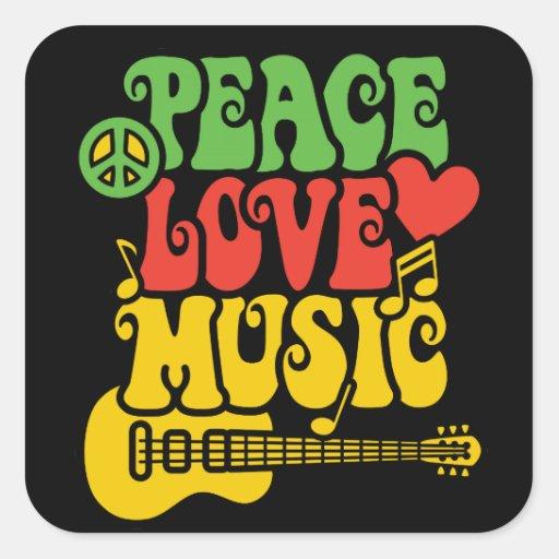 Paz-Amor-Música de Rasta Calcomania Cuadradas Personalizada