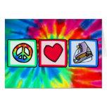 Paz, amor, patín de hielo tarjeta
