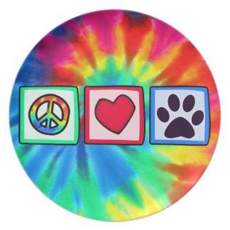 Paz, amor, perro; Pawprint Platos De Comidas