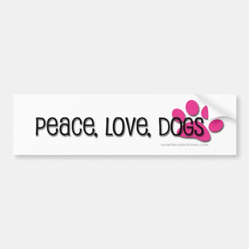 paz, amor, perros pegatina de parachoque