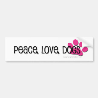 paz, amor, perros pegatina para coche
