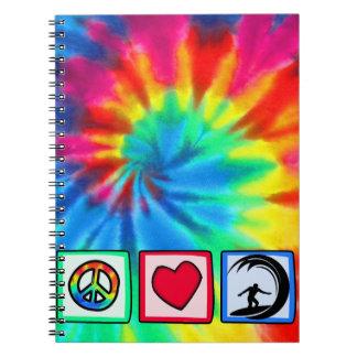 Paz, amor, practicando surf libro de apuntes con espiral