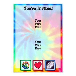 Paz, amor, rugby invitación 12,7 x 17,8 cm