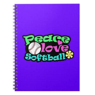 Paz, amor, softball libros de apuntes