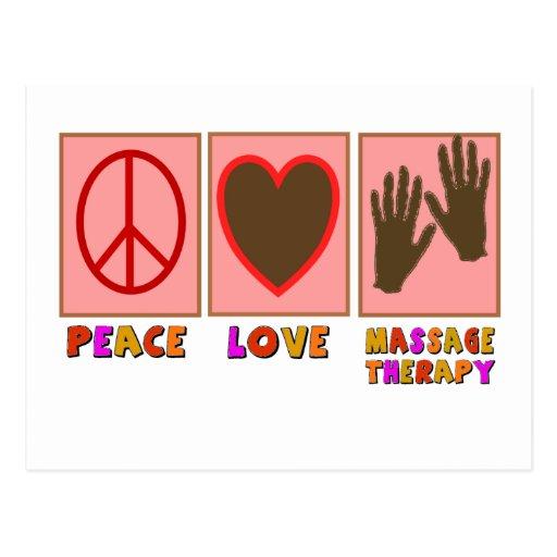 Paz, amor, terapia del masaje postales