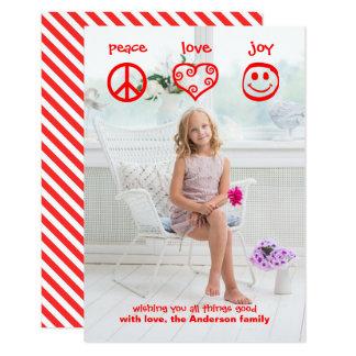 Paz, amor, vertical de la alegría - tarjeta de