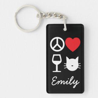 Paz, amor, vino y gatos llavero