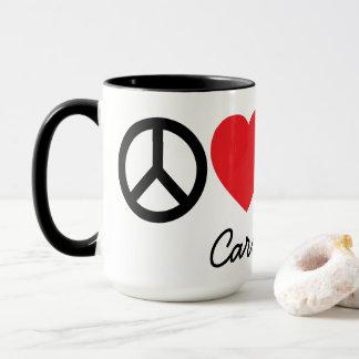 Paz, amor, vino y taza personalizada gatos