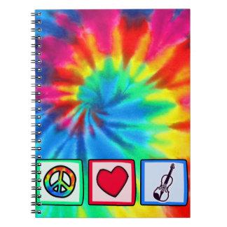 Paz, amor, violines cuaderno