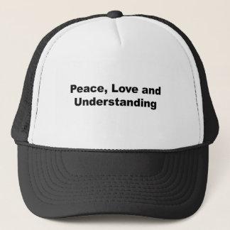 Paz, amor y comprensión gorra de camionero