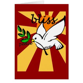 Paz, amor y dicha tarjeta de felicitación
