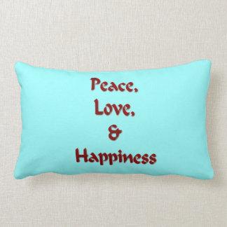 Paz, amor y felicidad cojín