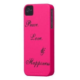 Paz, amor, y felicidad iPhone 4 carcasas