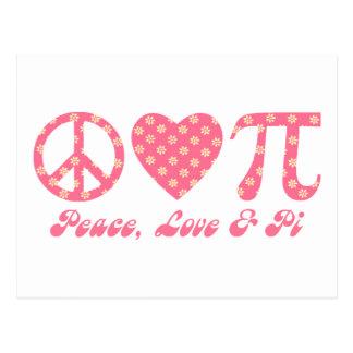 Paz, amor y flores rosadas del pi postal