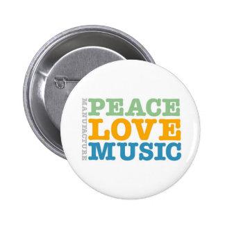 Paz, amor, y música de la fabricación pins