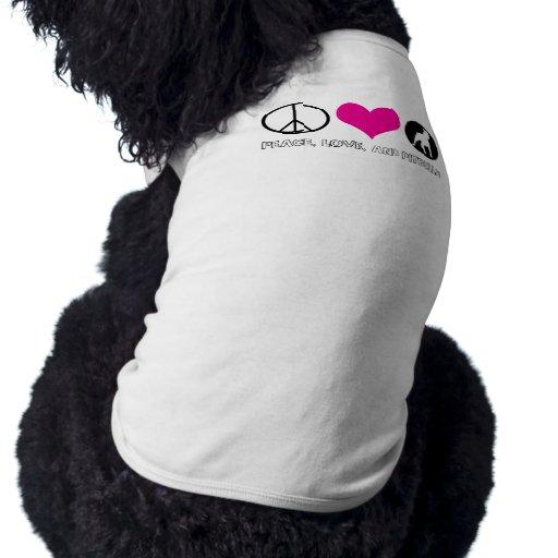 Paz, amor, y perrito T de Pitbulls Ropa Perro