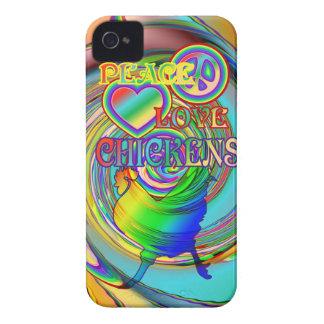 Paz, amor, y pollos iPhone 4 carcasas