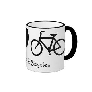 Paz, amor y taza de las bicicletas