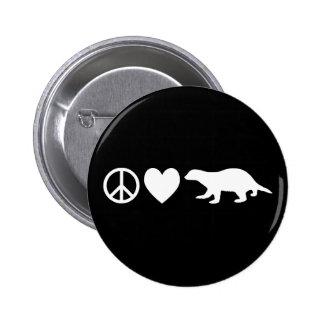Paz, amor y tejones de miel chapa redonda de 5 cm
