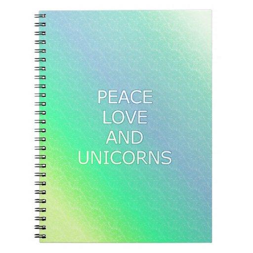 Paz, amor, y unicornios libretas espirales