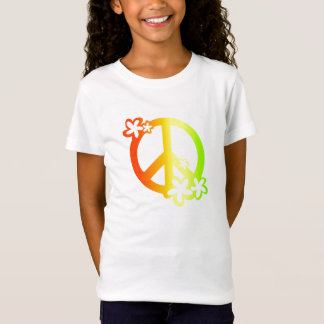paz con colores del rasta de las flores camiseta