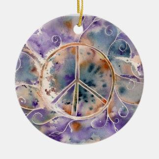 Paz de la acuarela adorno navideño redondo de cerámica