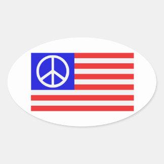 Paz de la bandera de los E.E.U.U. Pegatinas De Oval