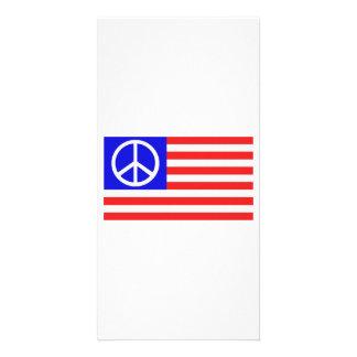 Paz de la bandera de los E E U U Tarjetas Personales Con Fotos