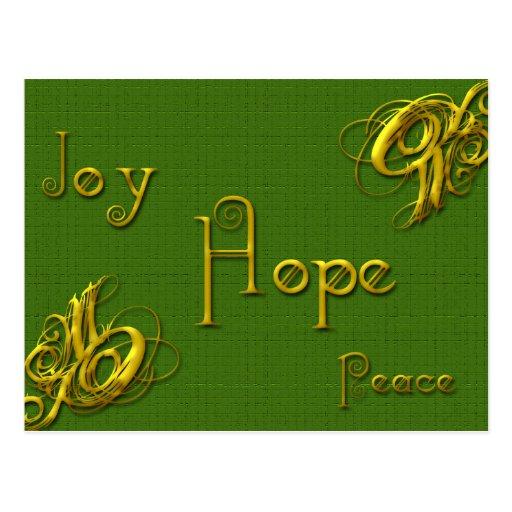 Paz de la esperanza de la alegría tarjeta postal