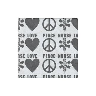 Paz del amor de las enfermeras imán de piedra