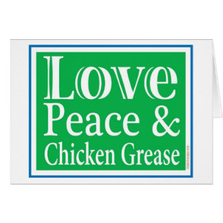 Paz del amor y tarjeta de la grasa del pollo
