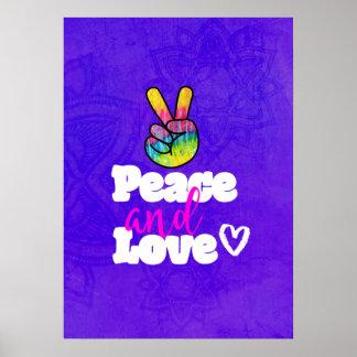 Paz del signo de la paz de la mano del arco iris y póster