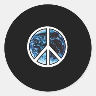 paz en blanco de la tierra etiqueta redonda