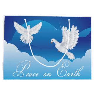 Paz en bolso del regalo del navidad de la tierra bolsa de regalo grande
