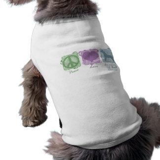 Paz en colores pastel, amor, y terrieres de pitbul camiseta sin mangas para perro
