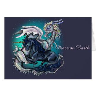 Paz en dragón y unicornio de la tierra tarjeta
