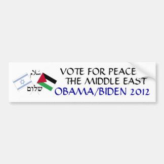 Paz en el Oriente Medio Obama 2012 Pegatina Para Coche