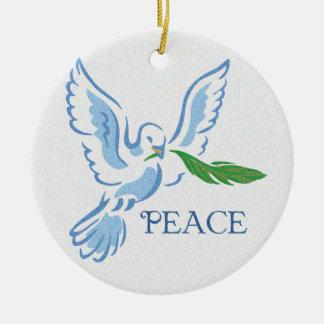 Paz en el ornamento de la paloma de la tierra ornamentos de navidad