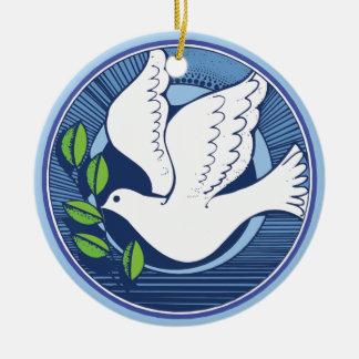 Paz en el ornamento de la paloma de la tierra adorno redondo de cerámica
