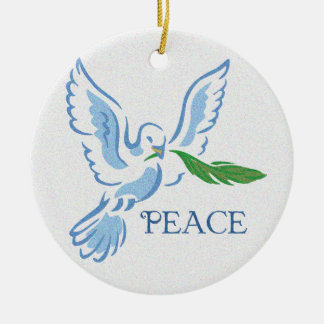 Paz en el ornamento de la paloma de la tierra adorno navideño redondo de cerámica